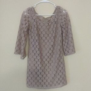 Retro disc patterned overlay dress